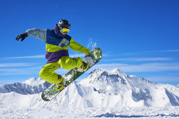 Poster Winter sports Snowboarder doing trick