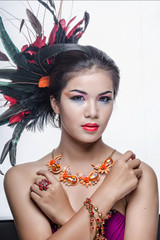 Closeup portrait of a beautiful young woman. Fashion art photo..