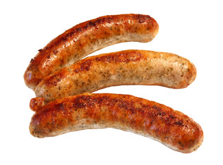 grilled sausages isolate on a white background