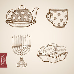 Engraving vintage hand drawn vector kettle cake candle Sketch
