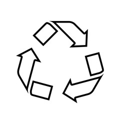 Recycling line icon. Symbol for recyclable products or those made of recycled materials. Vector Illustration