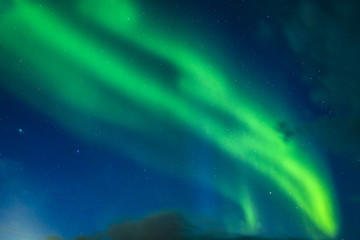 Bright green Northern lights (Aurora borealis)