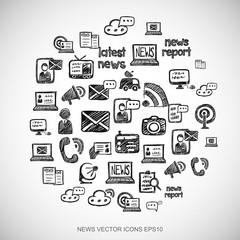 Black doodles Hand Drawn News Icons set on White. EPS10 vector illustration.