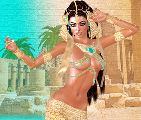 Egyptian woman, beads, beauty and gold in our digital art fantasy scene. Perfect for Egyptian, fantasy and diversity themed projects plus more. It's a 3d render