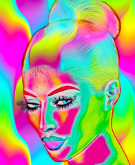 Abstract digital art image of a woman's face.  Perfect for themes of art, fashion, youth, fun, self expression and more, plus it's a 3d render so no worries about any model releases!