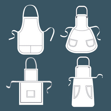 Set of white aprons. Vector collection of aprons templates with pockets, shoulder straps and belts.