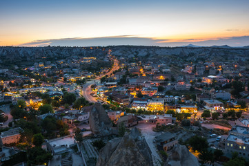 The town Goreme in the night