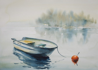 Watercolor painting of a landscape with wooden boat on the river, covered with fog.