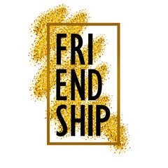 Lettering of the word friendship on the background of Golden spa