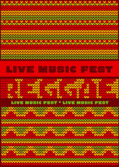 knitted pattern reggae color music background. Jamaica poster ve