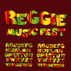 relax reggae music color font. Jamaica style ABC letters with st