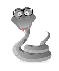 Snake with glasses in gray on a white background