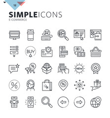 Modern thin line e-commerce web icons. Premium quality outline symbol collection for web and graphic design, mobile app. Mono linear pictograms, infographics and web elements pack.