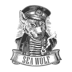 Sea wolf with pipe and ribbon.