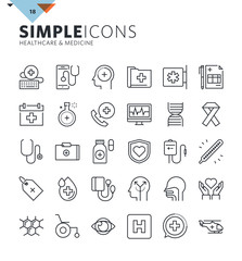 Modern thin line icons of healthcare and medicine. Premium quality outline symbol collection for web design, mobile app, graphic design. Mono linear pictograms, infographics and web elements pack.