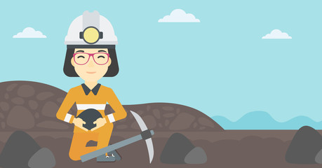 Miner holding coal in hands vector illustration.