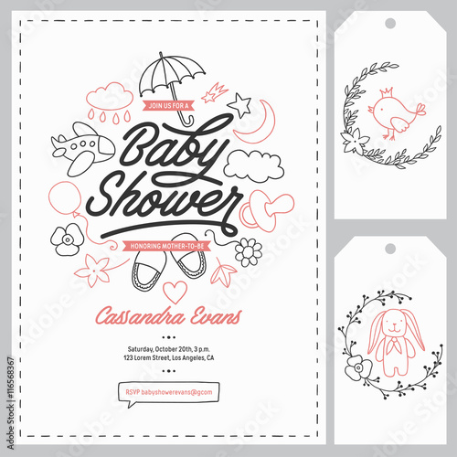 Baby shower invitation templates set hand drawn vintage baby shower invitation templates set hand drawn vintage illustration stopboris Gallery