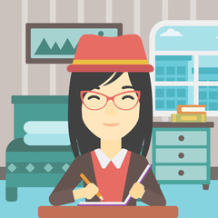 Journalist writing in notebook vector illustration