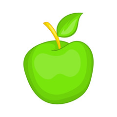 Green apple icon in cartoon style isolated on white background. Fruit symbol