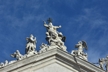 Assumption of the Virgin Mary into Heaven at the top of jesuit church in Venice, made by baroque sculptor Torretti in the 18th century
