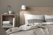Modernes Doppelbett aus Holz mit Nachkästchen