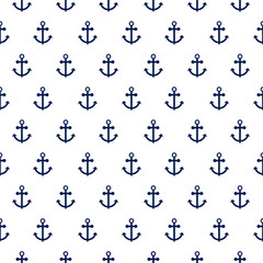 Seamless vector pattern with nautical anchors. Sea theme simple blue anchor repeat background for textile print.