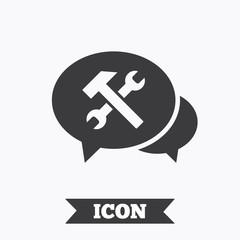 Speech bubble repair tool icon. Service symbol.