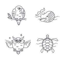 Vector Parrot, Owl, Wheel and Turtle.