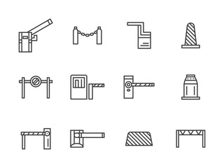 Barriers black line vector icons set