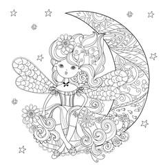 Vector cute fairy girl in flowers