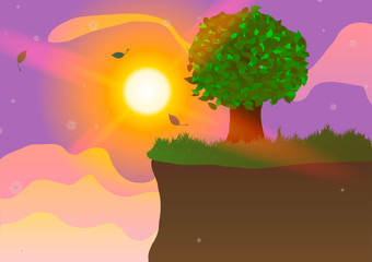 Vector Illustration. Tree on the cliff at sunset.