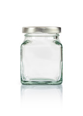 Clear glass bottle with silver cap isolated on white background