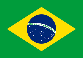 Brazil flag with flat design vector background.