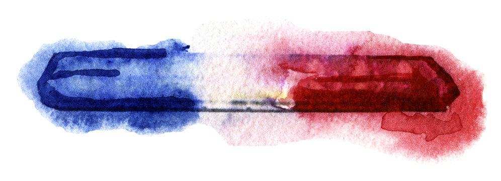 watercolor sketch of police lights on white background