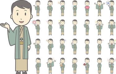 着物を着た男性vol.1(案内・指差し・笑顔など, 様々な表情やポーズのイラストをセット)