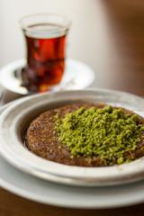 Kunefe with tea / Turkish Traditional Dessert