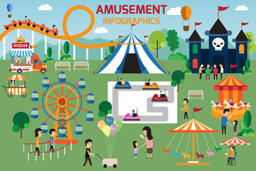 Amusement park infographic elements flat vector design. People s