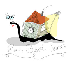 Funny snail carries its house
