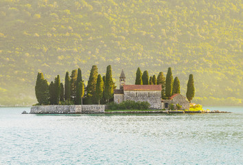 Island of Saint George (Ostrvo Sveti Dorde, St.George), a natural island in Adriatic sea, one of the two islets off the coast of Perast in Bay of Kotor, Montenegro. Tourist travelling attraction.
