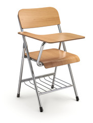 Wooden student chair with desk and armrest on white floor