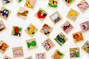 generic wooden toys with no copy rights, representing objects an