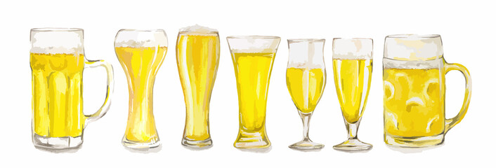 Watercolor beer glasses set on whte background. Isolated different kinds of beer glasses.