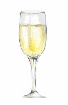 Isolated watercolor champagne glass on white background. Celebration or holiday drinking. Symbol of new year.