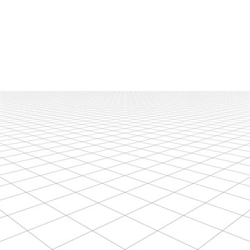 Perspective grid over white background 3D rendering