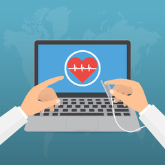 Doctor's hands with stethoscope and pointing computer laptop screen for telemedicine concept on blue background.