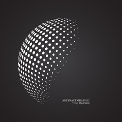 Abstract globe dotted sphere, 3d halftone dot effect. White colo