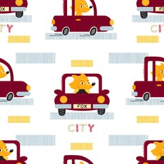 Fox with car seamless vector  pattern.