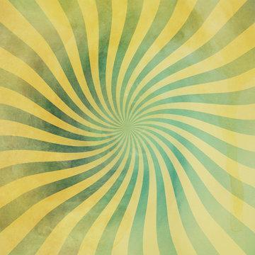 grunge green and yellow vintage sunburst swirl, twirl background