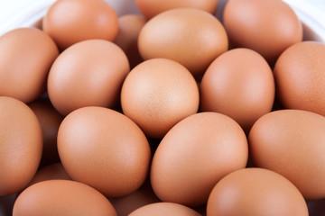 Fresh organic eggs in bowls