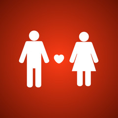 Man and woman icon with love